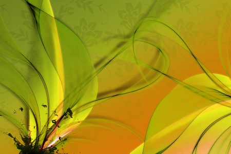 Abstract Floral Background. Green and Orange Colors.