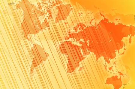 Orange - Yellow Business Background Design with World Map and Stripes. Stock Photo