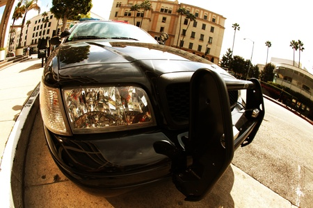 American Police Cruiser - Beverly Hills, California Police Cruiser. Law Enforcement Vehicle. Fisheye Photo.