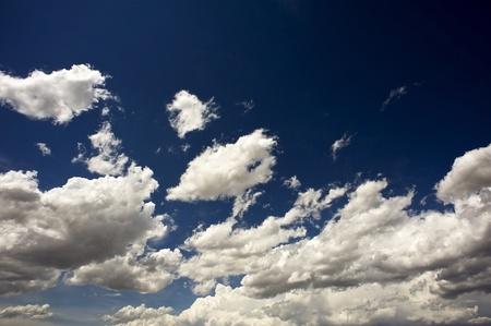meteo: Dark Blue Sky. Dark Blue Summer Cloudscape Background. Horizontal Photo. Weather Backgrounds Collection.