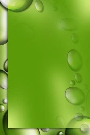 新鮮な緑色の水の滴の背景デザイン。水の滴を縦型デザイン。暗い固体緑コピー スペース。