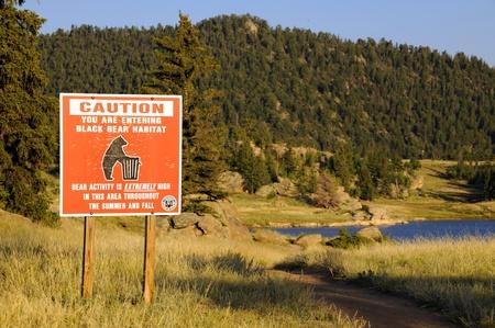 Caution Black Bear. Colorado Signage. Stock Photo - 13244188