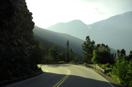rocky road: Mountain Road. Rocky Mountains National Park, Colorado USA. Park Road. Stock Photo