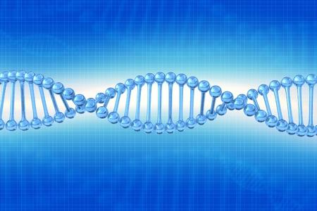 DNA Chain Illustration - Blue Background. 3D Render Illustration