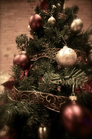 catolic: Christmas Tree in the Building. Christmas Ornaments. Wide Angle Lens.