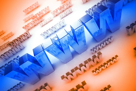 WWW Text - World Wide Web (WWW) 3D Render Text. Large Blue WWW and Smaller Orange. photo