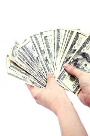 one hundred dollars: Money Counting. American Dollars Counting Hands. Business Theme. Vertical Photo. One Hundred Dollars Bills.