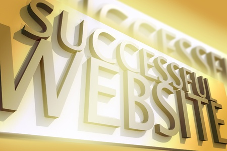 Successful Website - Cool 3D Render with Spot Light. Golden Style.