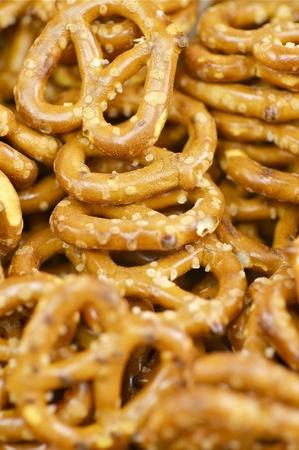 pretzels: Fresh Pretzels - Close Out. Tasty Pretzels. Stock Photo