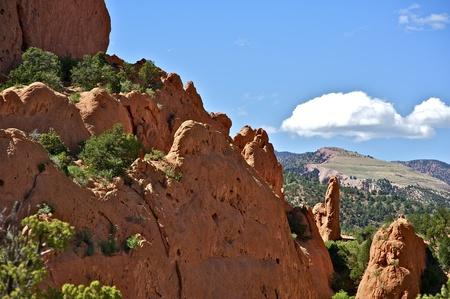 colorado rocky mountains: Colorado Geology. Red Rocks of Garden of the Gods - Colorado Springs, Colorado U.S.A. Horizontal Photography