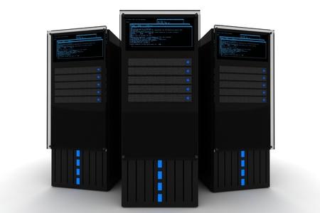 Le Datacenter. Trois serveurs noirs 3D Render sur le fond blanc. Hébergement - Illustration Datacenter. Banque d'images