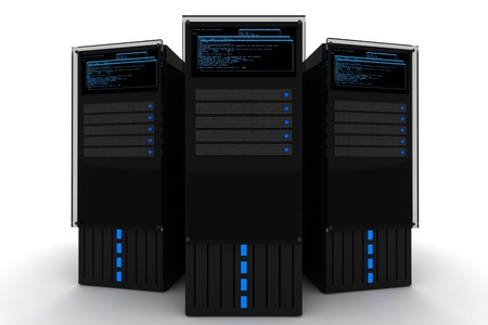 datacenter: The Datacenter. Three Black Servers 3D Render on the White Background. Hosting - Datacenter Illustration. Stock Photo