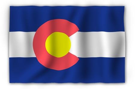 State of Colorado Waving Flag. Colorado State Symbol. United States of America. photo