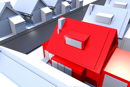 ed: Red House - Real Estate 3D Render Illustration Theme. Light Blue-Gray Residential Area with Single Red House.