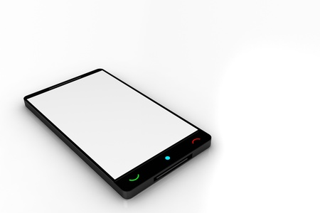 Cell Phone - 3D Render Illustration. Simple Cellphone Model with White Screen on White Background. Black Body. Stock fotó
