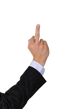 fucking: Bad Finger. Businessman Hand. Middle Finger Sign. Isolated Background Stock Photo