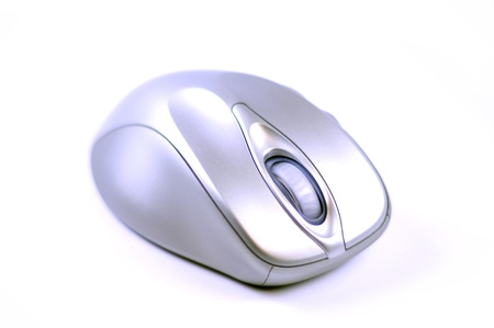 Silver Wireless Computer Optical Mouse. Isolated on White.