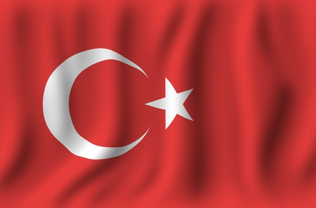 turkish flag: Waving Turkish Flag  Red Turkey National Flag Illustration