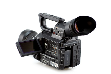 filmmaker: Professional Motion Picture 4 3 Sensor Video Camera with 35mm Lens and Open Side Display  White Background