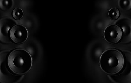 Grote luidsprekers - Zwarte Achtergrond Dark Theme Music Achtergrond Klaar Voor Music Event Poster