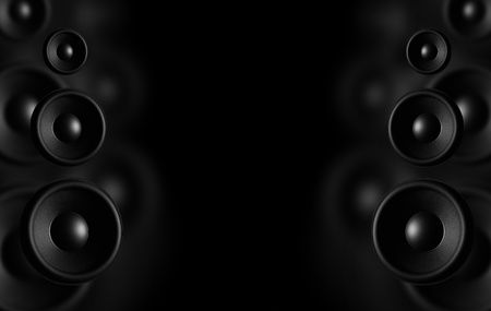 Large Speakers - Black Background  Dark Theme  Music Background Ready For Music Event Poster Stock Photo - 13238512