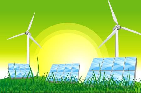 sun energy: Green Power - Green Energy Illustration  Green Sky, Solar Panels and Wind Turbines on the Green Grassy Field  Stock Photo