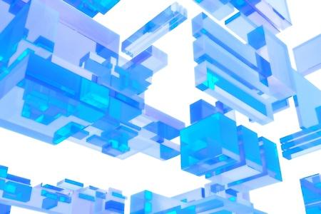 3D Blue Glass Cubes - Solid White Background. 3D Render Illustration