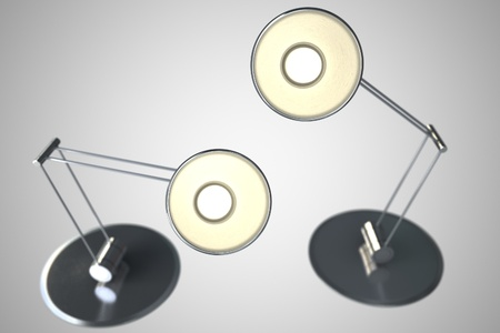 Two Lamps - 3D Render - Light Gray Background  Home Lighting