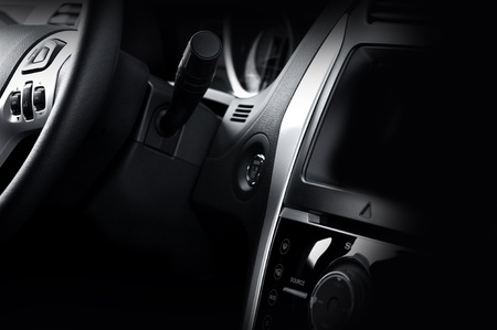Modern Vehicle Dash and Steering Wheel  Dark Vehicle Interior  Modern Design