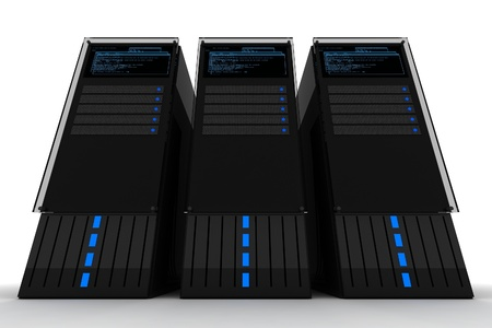 Three Servers. Datacenter. Three Black Server Computers on the White Background. 3D Render. Servers Illustration. Stock Illustration - 13238210