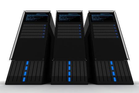 datacenter: Three Servers. Datacenter. Three Black Server Computers on the White Background. 3D Render. Servers Illustration.