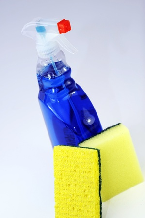 anti bacterial: Cleaning Kit - Anti Bacterial Liquid in Spray and Two Sponges Cleaning Kit  Vertical Photo