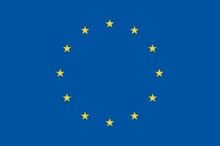 Blue European Union Flag with Yellow Stars  Basic Flag Illustration
