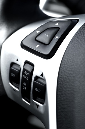 Driving Wheel Sound System and Navigation Buttons  Modern Vehicle Technology and Design  Car Interiors Photo Collection 版權商用圖片