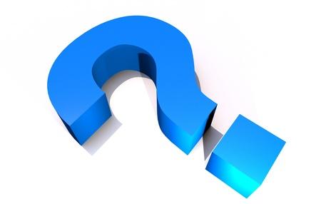 Big Question - 3D Render Blue Question Mark Laying on White Background. Reklamní fotografie - 13238407