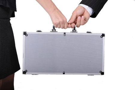 keeping: Silver Hard Case with Some Important Documents Keeping by Men and Woman  Clipped Photo  Stock Photo