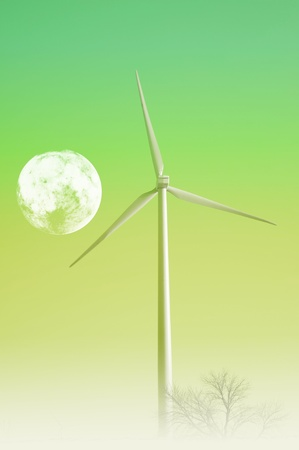 Wind Turbine and the Moon  Green Energy Theme  Great as Background