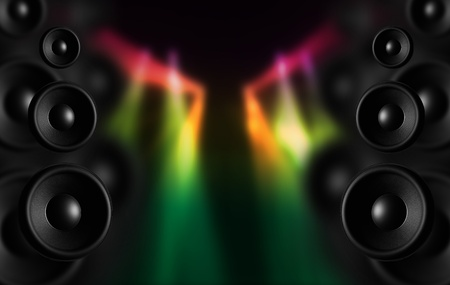 loud speaker: Disco Speakers and Colorful Disco Lighting Spots. Cool Dark Music Theme Perfect for Concerts, Parties etc.