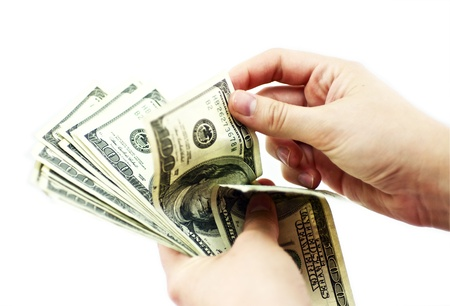 bank owned: Dollars Counting. Female Hands Counting USD American Dollars. Business Theme. Horizontal Photo. Stock Photo