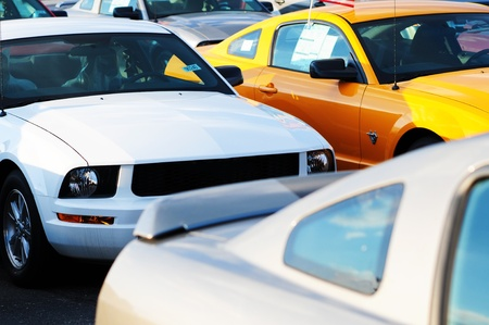 bank owned: Dealership Stock - Sport Cars  Dealership Stock Parking  Brand New Cars For Sale  Stock Photo