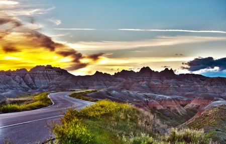 Famous Badlands Loop Road in Badlands National Park, South Dakota, U.S.A. Badlands Loop Road HDR Photography photo