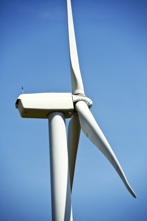 dexter: Side Closeup of Wind Turbine. Alternative Energy Theme. Vertical Photography