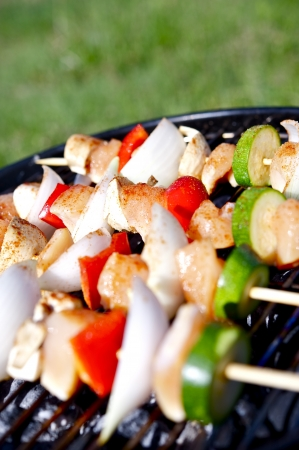 Chicken Kebob Grill. Chicken Shashlik  Kebob with Vegetables. Vertical Photo. Stock Photo
