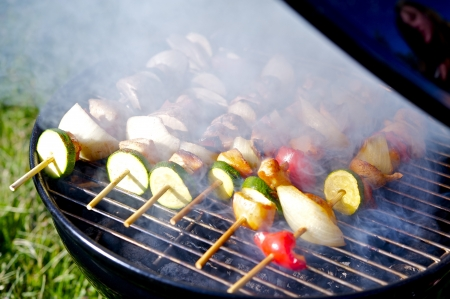 kabob: Chicken Shish Kabobs on the Grill Prepare on Grill.  Stock Photo