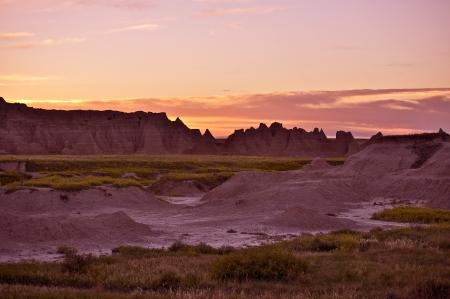 natural wonders: Sunset in the Badlands NP. Badlands Scenery. South Dakota, USA.