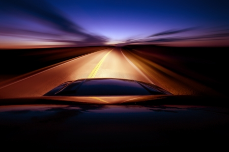 headlights: Night Ride. Driving During Night Hours. South Dakota Route. Highway Sunset.