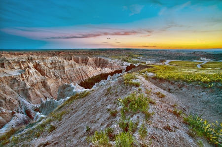 Badlands Sunset HDR. Beautiful Badlands Scenery. South Dakota, USA. HDR Photo Collection. Horizontal Photography  photo