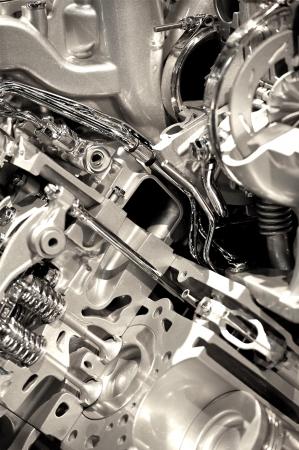 explosion engine: Shiny Engine Closeup. Powerful and Economic Vehicle Engine.Technology Photo Collection  Stock Photo