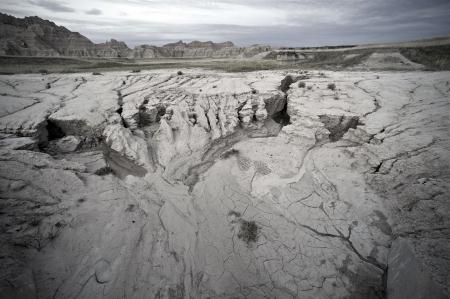 Sandy Badlands Landscape at Evening. Badlands South Dakota. Eroded Sandstones.  photo