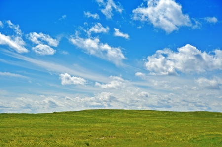 acres: Green Acres - Green Meadows and Summer Blue Cloudy Sky. Nature Photo Collection.